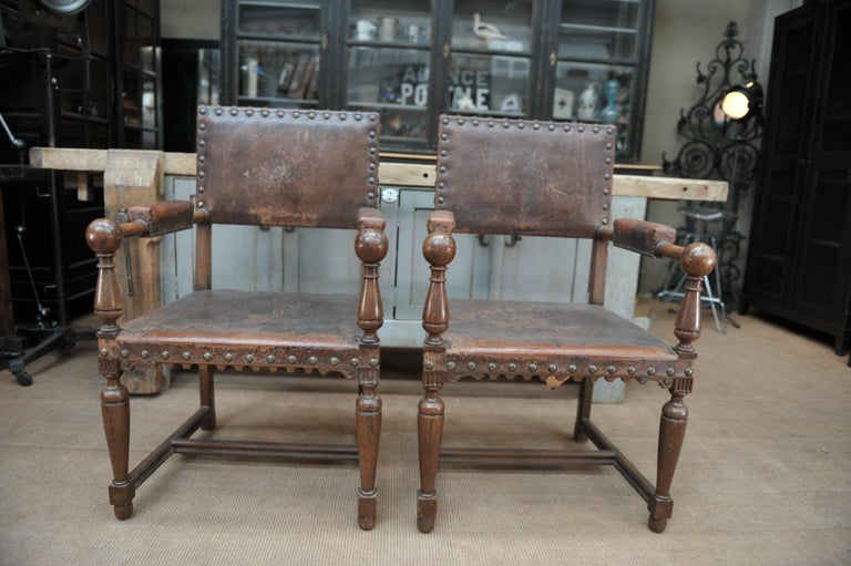 Pair of French Walnut and Leather Chairs, circa 1900 1