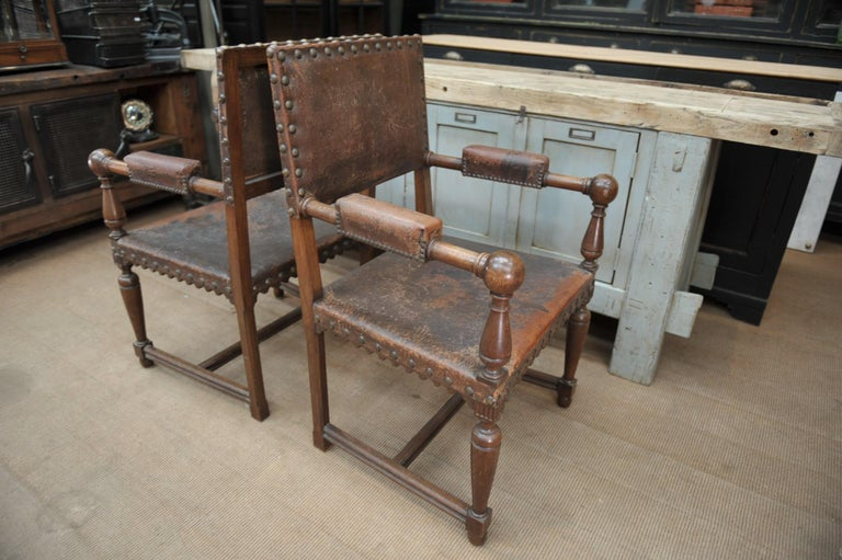 Pair of French Walnut and Leather Chairs, circa 1900 2