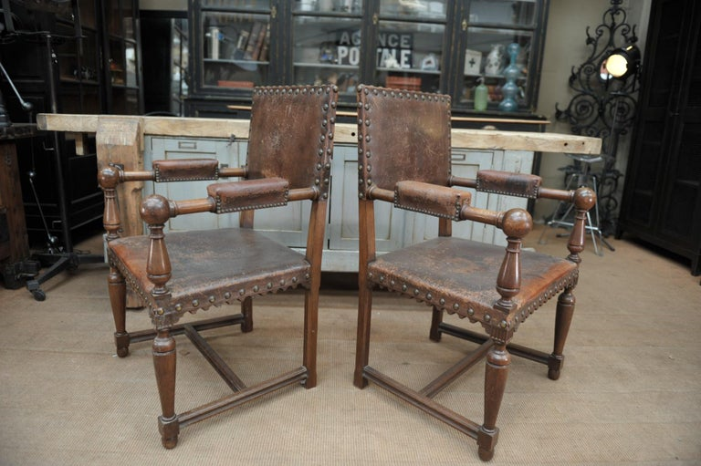 Pair of French Walnut and Leather Chairs, circa 1900 3