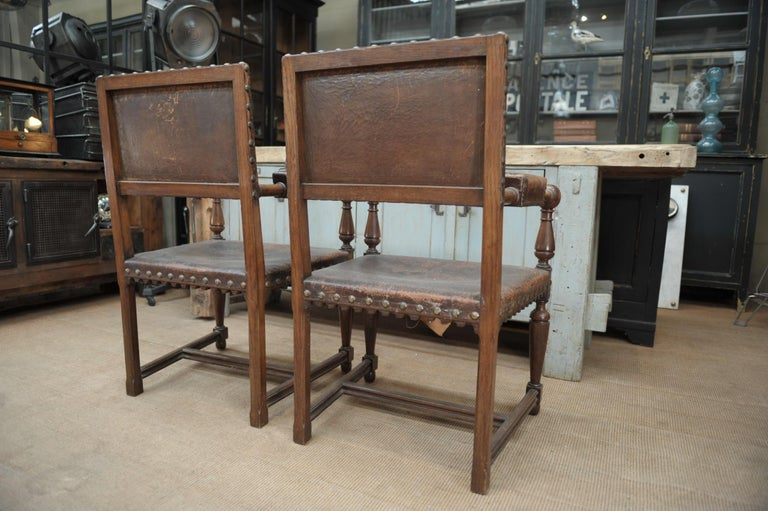 Pair of French Walnut and Leather Chairs, circa 1900 4