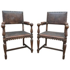 Pair of French Walnut and Leather Chairs, circa 1900