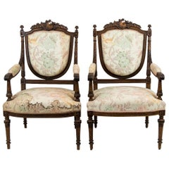 Pair of French Walnut Armchairs