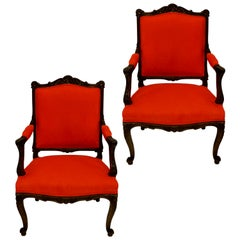 Pair of French Walnut Armchairs in Burnt Orange Corduroy