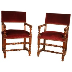 Pair of French Walnut Armchairs Louis XIII Style 19th Century