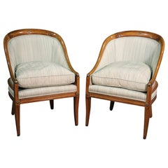 Pair of French Walnut Bronze Mounted Empire Bergère Lounge Chairs, circa 1940s