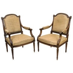 Pair of French Walnut Carved Armchairs