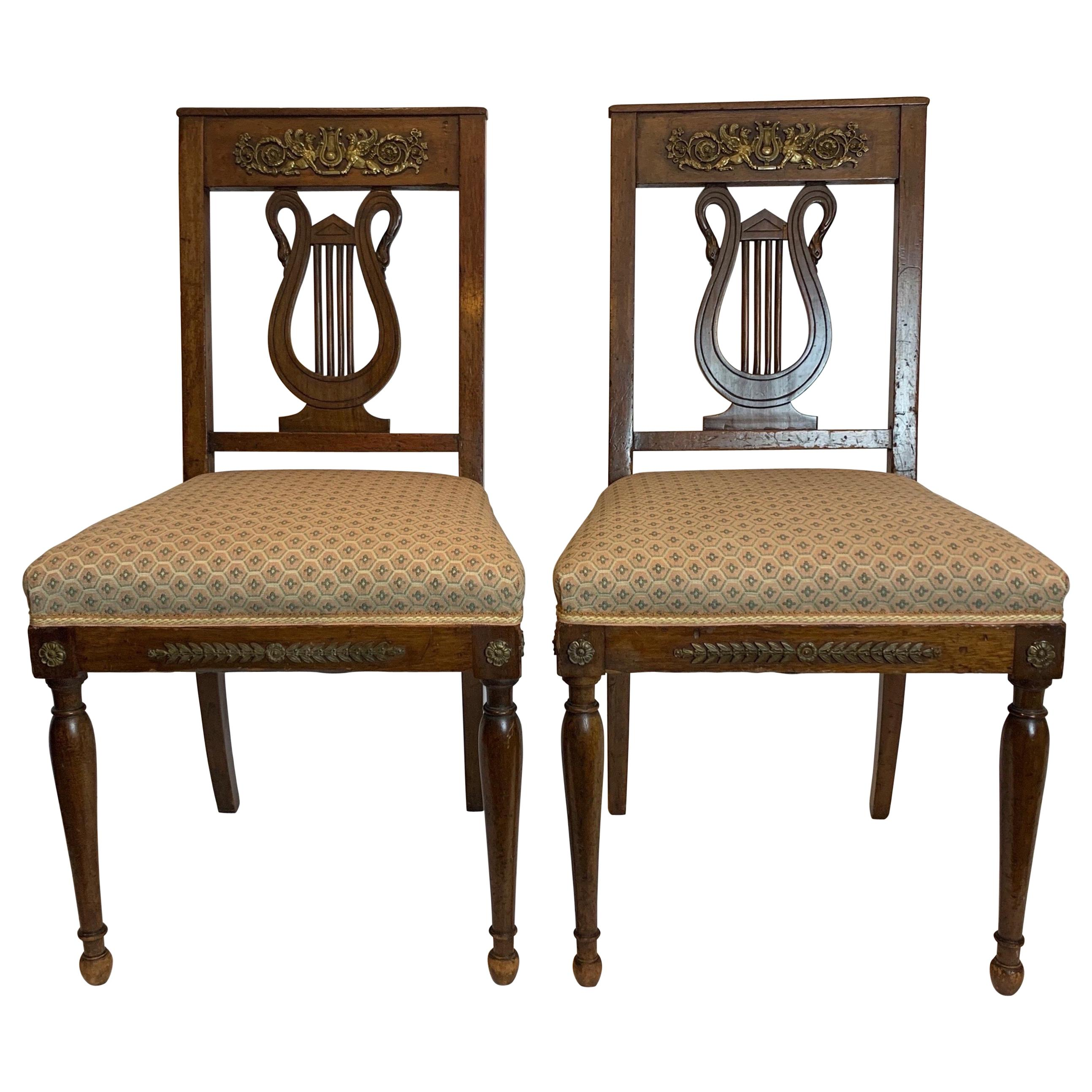 Pair of French Walnut Empire Side Chairs with Bronze Mounts