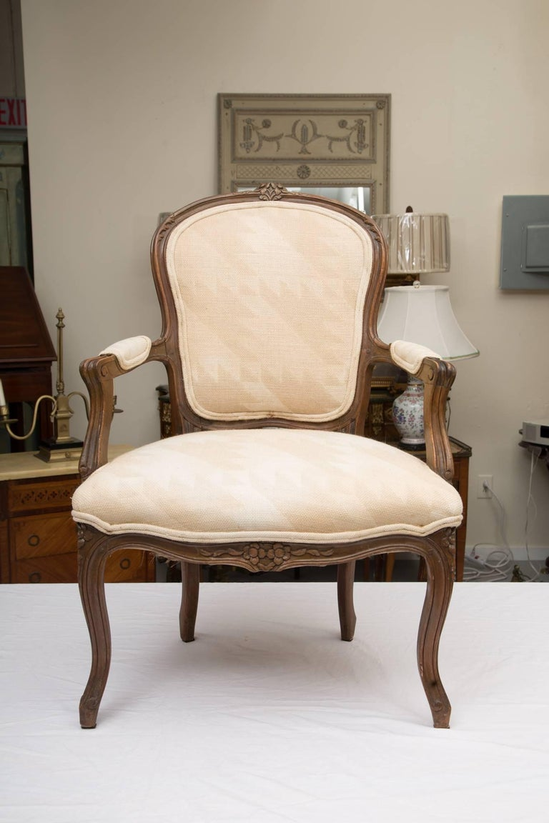 Pair of French Walnut Fauteuil Upholstered Chairs For Sale 4