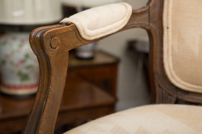 Pair of French Walnut Fauteuil Upholstered Chairs For Sale 3