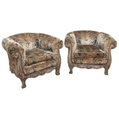 Pair of French Walnut Hand Carved Louis XV Armchairs, Bergères