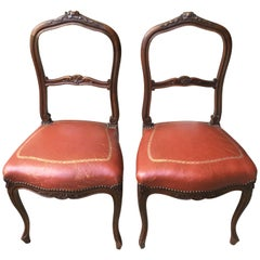Pair of French Walnut & Leather Boudoir Chairs