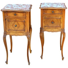 Pair of French Walnut Louis XV Style Marble Top Bedside/Chairside Tables