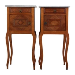 Pair of French Walnut Marble-Top Nightstands