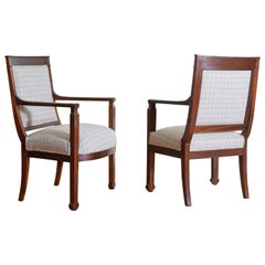Pair of French Walnut Neoclassic Restauration Period Fauteuils, circa 1830