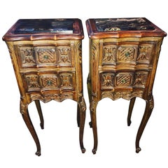 Pair of French Walnut Wood Antique Nightstands with Marble Tops