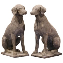 Pair of French Weathered Carved Stone Labrador Dog Sculptures Garden Statuary