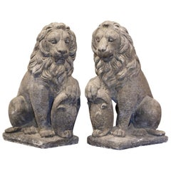 Pair of French Weathered Carved Stone Lions Sculptures Garden Statuary
