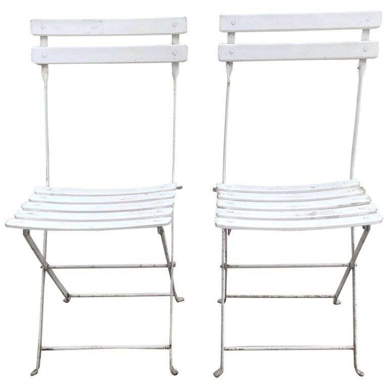 Fantastic Pair Of French White Bistro Folding Chairs Caraccident5 Cool Chair Designs And Ideas Caraccident5Info