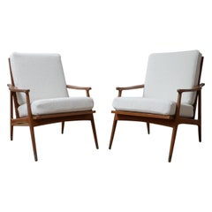 Pair of French White Boucle Midcentury Armchairs
