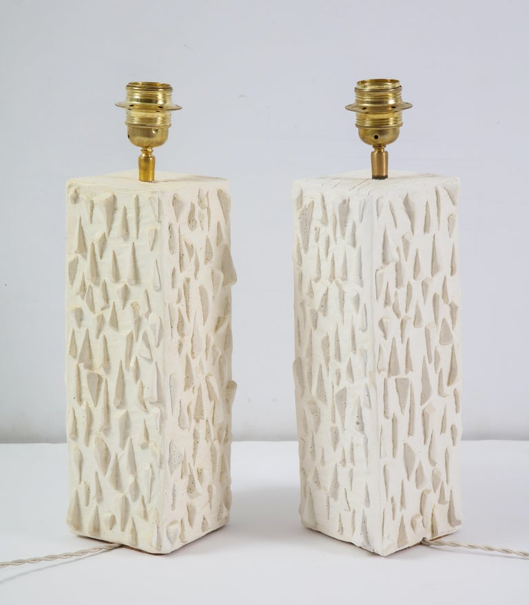 Pair of French White Ceramic Lamps For Sale 6