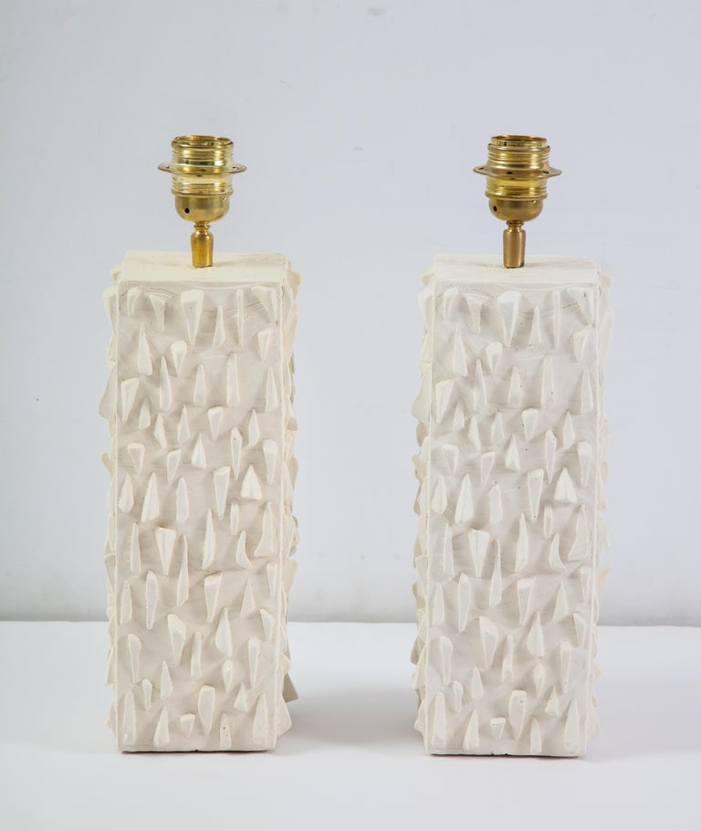 Pair of French White Ceramic Lamps In New Condition For Sale In Mt Kisco, NY