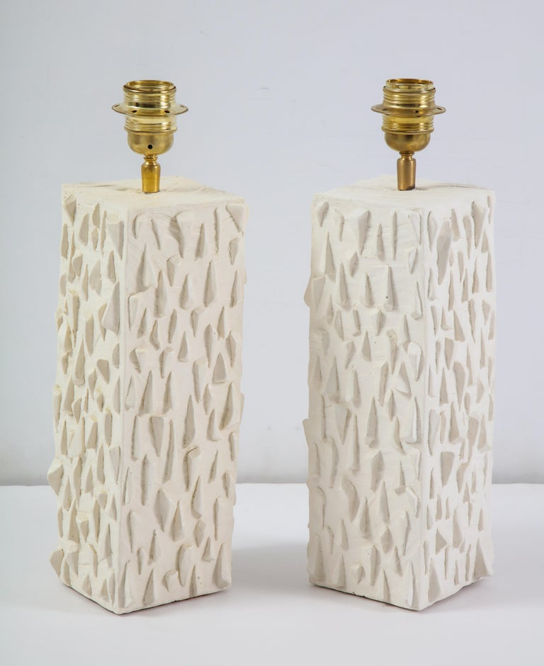Contemporary Pair of French White Ceramic Lamps For Sale