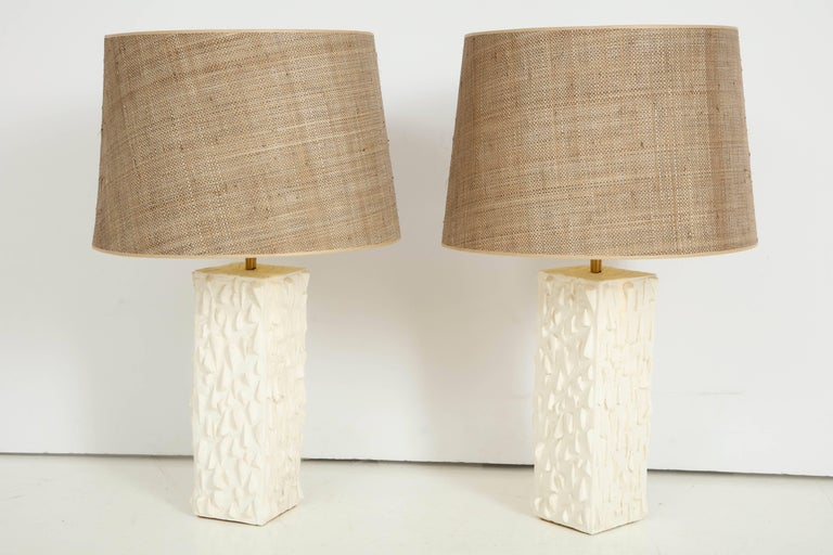 Pair of French White Ceramic Lamps For Sale 2