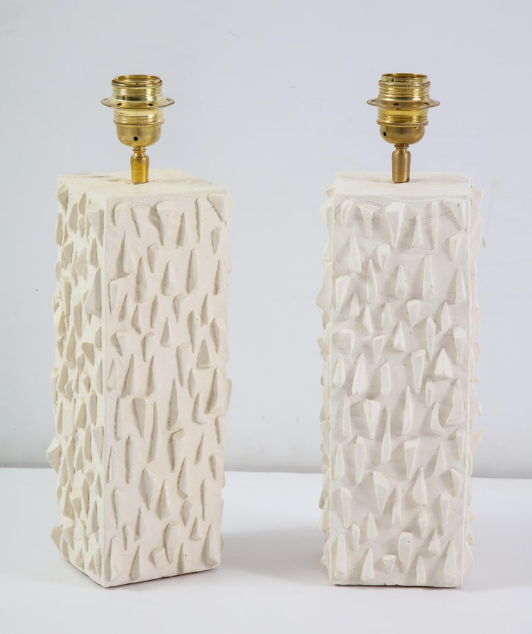 Pair of French White Ceramic Lamps For Sale 4