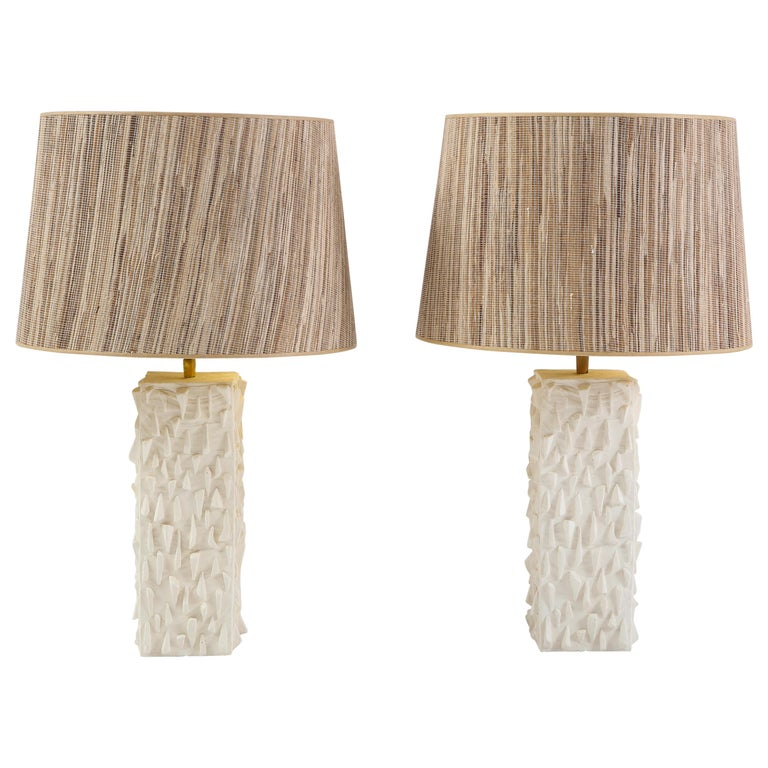 Pair of French White Ceramic Lamps For Sale