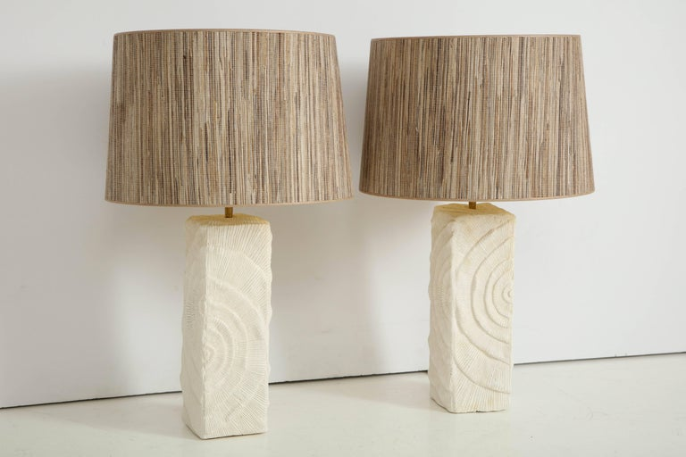 Contemporary Pair of French White Ceramic Lamps in Madrepore Style For Sale