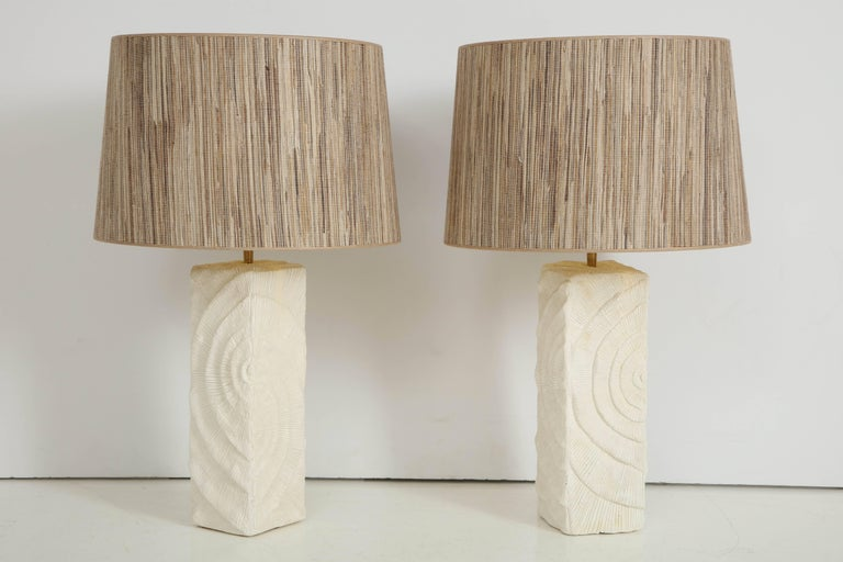 Pair of French White Ceramic Lamps in Madrepore Style For Sale 2