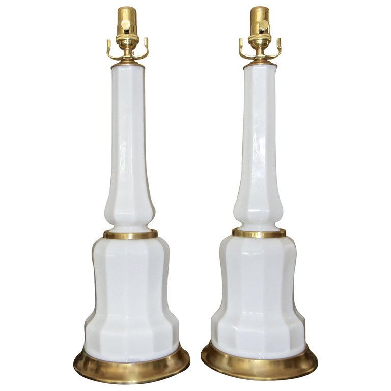 Pair of French White Opaline Table Lamps For Sale