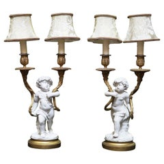 Pair of French White Porcelain and Ormolu Lamps, 19 Century