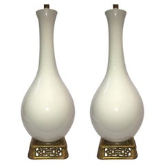 Pair of French White Porcelain Table Lamps