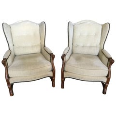 Pair of French White Velvet Chenille Bergères