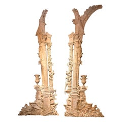 Pair of  French White-Washed Pine Decorative Elements