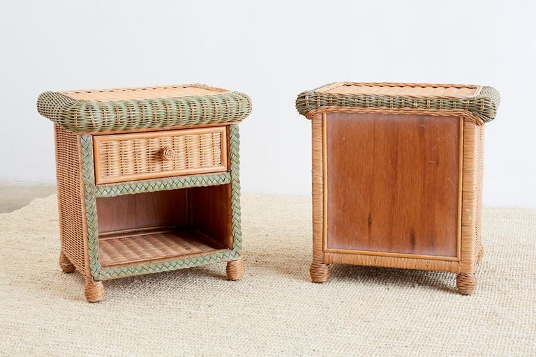 Pair Of French Wicker Nightstands Attributed To Grange For