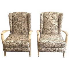 Pair of French Wingback Armchair Style Art Deco, 1940s
