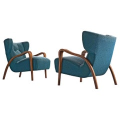 Pair of French Wingback Chairs in Blue Fabric
