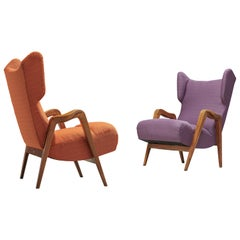 Pair of Wingback Lounge Chairs with Oak Frame