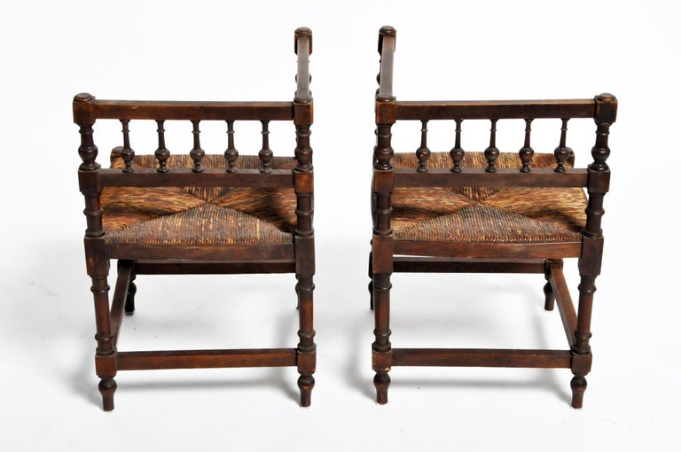 French Provincial Pair of French Wooden Corner Chairs For Sale