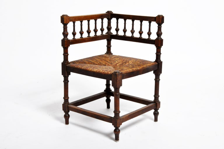 Pair of French Wooden Corner Chairs For Sale 1