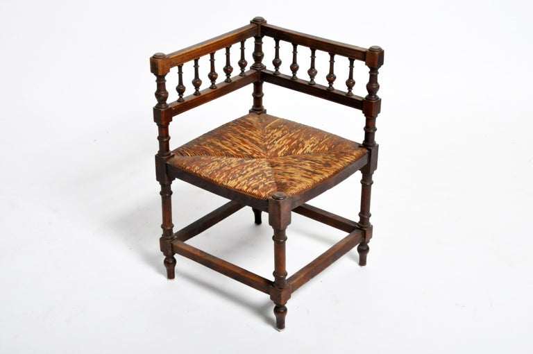 Pair of French Wooden Corner Chairs For Sale 2