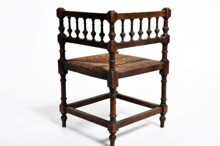 Pair of French Wooden Corner Chairs For Sale 3