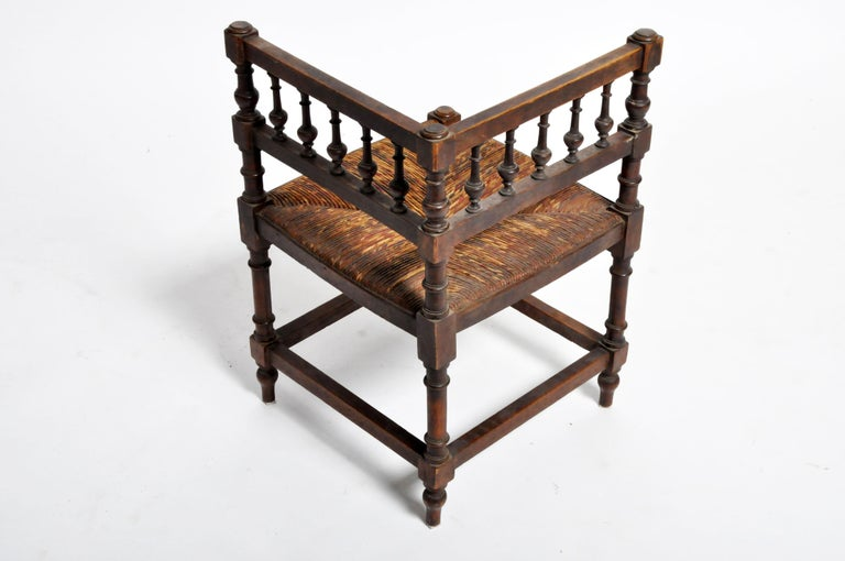 Pair of French Wooden Corner Chairs For Sale 4