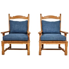 Pair of French Wooden Ladder Back Armchairs