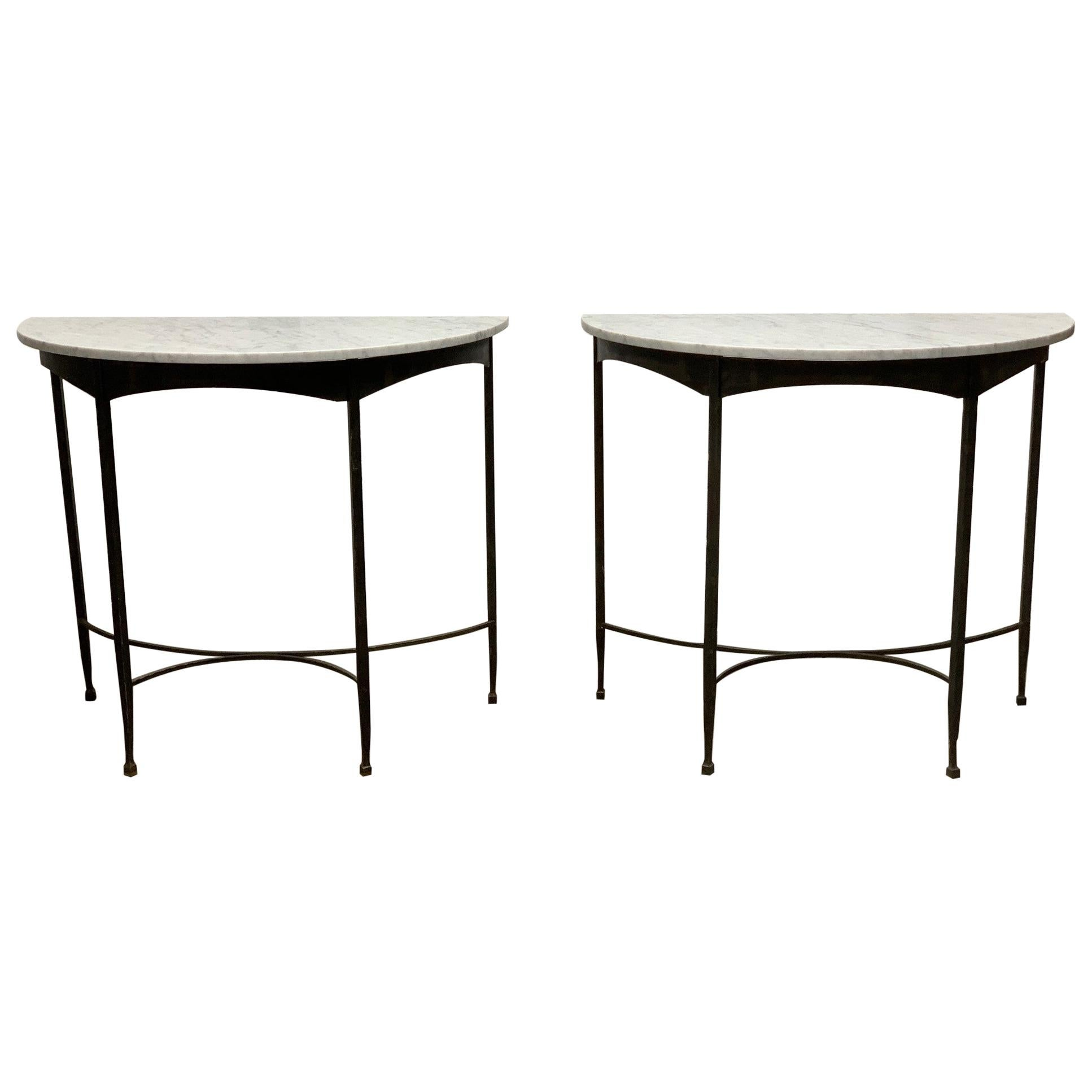 Pair of French Wrought Iron and Carrara Marble-Top Demilune Tables