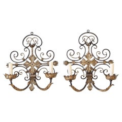 Pair of French Wrought Iron and Gilt Metal 2-Arm Wall Sconces