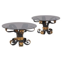 Pair of French Wrought Iron and Glass Coffee Tables, 1960s