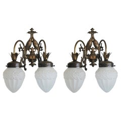 Pair of French Wrought Iron and Glass Two-Arm Wall Sconces Indoor or Outdoor Use